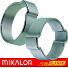 MIKALOR DOUBLE & SINGLE EAR CLIPS | O CLAMP | ZINC PLATED STEEL | 10 OR 20 PACK