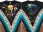 NATIVE-BISON SKULL-FEATHERS-PIPE-TIPI-2 SIDED T-SHIRT-3X, 4X, 5X, 6X PLUS SIZES