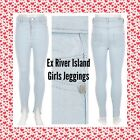ex- River Island GIRLS Blue High Waisted Denim Molly Jeggings - RRP £16.00