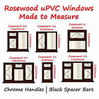 Rosewood uPVC Windows | Chrome Handles | Black Spacer Bars - New Synseal