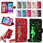 Glow Shine Girl and Cat Leather Card Wallet Case Stand Cover for Samsung Galaxy