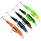 5pcs/Lot 2 Section Fishing Lures Artificial Crankbaits Bass 6 # Hook 10.5cm/9.6g