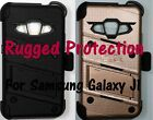 Rugged Case, Holster, Tempered Glass Screen Protector for Samsung Galaxy J1