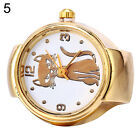 Lady Girl Golden Tone Round Elastic Alloy Quartz Watches Finger Ring Watch Saucy