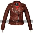 Classic Ladies Red Marlon Brando Motorcycle Fashion Biker Vintage Leather Jacket