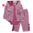 Carter's Baby Girls Hooded Cardigan Bodysuit Legging Size 3 6 9 12 18 24 months