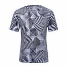 Logas Mens Animated and 3D Printing T-Shirt Casual Black and White Lattice Tees