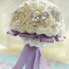 RHINESTONE WHITE SATIN ROSE FAUX PEARL PIN BROOCH WEDDING BRIDAL FLOWER BOUQUET