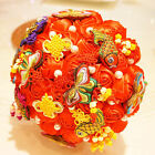 RHINESTONE CHINA STYLE BUTTERFLY RED CHINESE KNOT ROSE WEDDING FLOWER BOUQUET