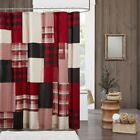 "Luxury Rustic Red Black & Tan Plaid Cotton Fabric Shower Curtain - 72"" x 72"""