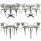 MARKO OUTDOOR 3PC ALUMINIUM GARDEN FURNITURE BISTRO STACKING TABLE CHAIRS CHROME