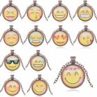 Sale Women Smile QQ Emoji Expression Round Pendant Alloy Necklace Jewelry