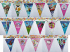 BUNTING CHILDRENS PARTY DECORATIONS Trolls Paw Patrol Princess Minions Pokemon