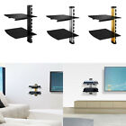 Floating Wall Mount Shelf DVD TV Component Rack AV Console Cable Glass Stand