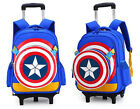 Kids Student School Boys Rolling Trolley Bag 2Wheels Luggage US Captian Backpack