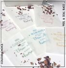 10 Personalised glassine Throw me Confetti Wedding self seal bags Colour choice