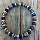 Black Magnetic Hematite Therapy bracelet With Metallic blue glass all sizes