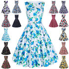 Women FLORAL Vintage Retro Swing 50's 60's pinup Housewife Prom Tea Dress +Belt