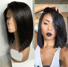 Silk Lace Brazilian Human Hair Wig BOB Straight Lace Front With Baby Hair Black