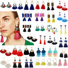 Fashion Bohemian Jewelry Elegant Crystal Tassel Earrings Long Drop Dangle Women