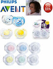 Baby Soother Dummy Pacifier Philips Avent Night Time Translucent 0-6m 6-18m 2Pk