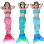 3pcs set Scale Kids Girls Mermaid Tail Swimwear Swimsuit Swim Costumes Bikini