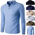 Fashion 2017 Mens Casual Polo Shirt Slim Fit V-neck Long Sleeve Tops Tee T-shirt