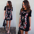 Fashion Women Short Sleeve Loose Casual Tops Blouse T Shirt Short Mini Dress