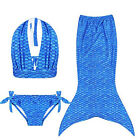 Blue 3pcs set Kids Girls Mermaid Tail Swimwear Swimsuit Costumes Bikini Set