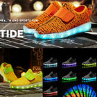 Kids LED Lightweight Shoes USB Rechargeable Breathable Weave Sneakers Neon Shoes