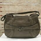 ANYA HINDMARCH Taupe Brown Small Genuine Leather Buckle Front Handbag 14088