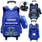 NEW Kid's Wheeled Backpack Boy Handbag With Flashy 2/6 Wheels Luggage School Bag