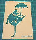 Banksy Umbrella Rat Reusable STENCIL for interior decor