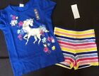 Gymboree Outlet Exclusive Mix N Match Outfit Unicorn Top Striped Shorts NWT