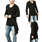 Ripped Men Tee Shirt Slim Fit O Neck Long Sleeve Muscle Casual Tops T Shirts