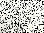 Retro Black Flowers on White Cotton Quilting Fabric Sewing Craft