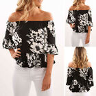 Fashion Summer Womens Floral Casual Loose Blouse Off Shoulder Crop Tops T-Shirt.