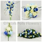 Artificial Wedding Flowers by Petals Polly, BOUQUET POSY BUTTONHOLES BLUE IVORY