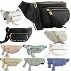 NEW WOMENS FAUX LEATHER TASSELS HOLIDAYS MONEY BELT BUM BAG FANNY PACK