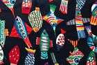 Giant Colorful Fish on Black Cotton Quilting Fabric Crafts Sewing