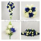Silk Wedding Flowers by Petals Polly, BOUQUET POSY BUTTONHOLES in NAVY BLUE