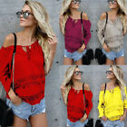 NEW Women's Off Shoulder Tops Long Sleeve Shirt Casual Blouse Loose T-shirt