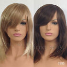 LADIES WOMENS  TWO TONE BROWN & TWO TONE BLONDE SHOULDER LENGTH FACE FRAME WIG