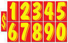 """Advertising Numbers Window Stickers Vinyl Digits Car Price (7.5"""" Red and Yellow)"""