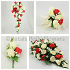 Silk Wedding Flowers by Petals Polly, BOUQUET POSY BUTTONHOLE in RED IVORY ROSES