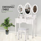 White Vanity Makeup Dressing Table Desk Set w/Stool Drawer & Mirror Furniture