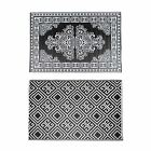 Black & White Geometric and Motif Pattern Reversible Plastic Woven Outdoor Rug
