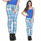 Blue Tartan Checked Plaid Skinny Slim Fitted Stretch Pants Punk Trousers Jeans