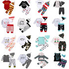 3pcs Toddler Newborn Baby Boy Girl Cotton T-shirt Tops+Pants Outfits Set Clothes