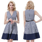 50s 60s Housewife Retro Striped Vintage Evening Party Cocktail Swing Mini Dress